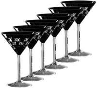 "Ajka Crystal ""Domino"" Martini 120 ml, set 6 pcs, черный"